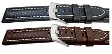 Quality Buffalo Grain Chunky Leather Mens Watch Strap Black Brown18,20,22,24mm