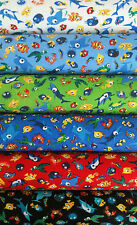 Cotton-Jersey fabric, 6 colours, fishes, sea animals, for children