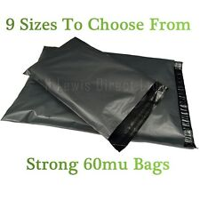 """Strong Large Grey Plastic Poly Mailing Bags/Sacks Self Seal 10x14""""  All Quantity"""