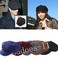 Wool Cap women Cabbie Newsboy Gatsby Cap Men Ivy Hat Golf Winter Cold Flat Plain
