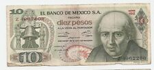 1972 Bank of Mexico ~ 10 Pesos Bank Note ~ Z4962288