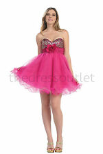 Prom Short Strapless Sweetheart Beaded Tulle Sassy Homecoming Mini Dress