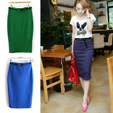 New Womens High Waisted Belted Pencil Skirt Stretch Bodycon Knee Length Skirt CN