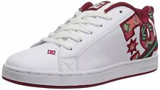 DC Shoes Women's Court Graffik SE Leather Skate Shoes White/Green Plaid US Sizes