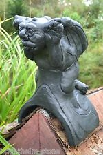 BLACK CHEEKY GARGOYLE ANGLED/HALF ROUND ROOF FINIAL RIDGE TILE frost proof stone