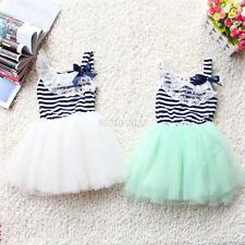 Kids Girls Flower Lace Bowknot Stripes Dress Tutu Puffy Skirt Party Costume 2-6Y