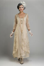Nataya Romantic Downton Abbey Tulle Embroidery Dress, 40163 Pearl Size S-3X