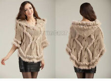 Ladies Warmer Faux Rabbit Fur Shawl Casual Cowl Cloak Long Sleeve Knitted Coat