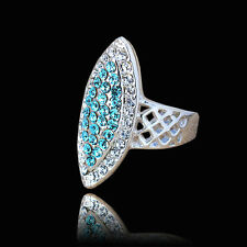 18K White Gold Plated Crystals Finger Ring Fashion Jewelry Gift CZ Rhinestone