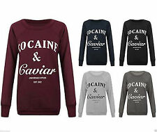 Womens Ladies Cocaine And Caviar Print Jumper Pullover Sweatshirt Top Sweater