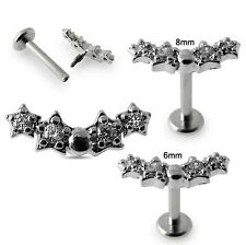 16G Micro Setting Cubic Zirconia Jeweled Top Madonna Labret Ear Targus Jewelry