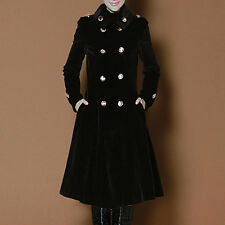 2015 Womens Double Breated Military Wool Blend Trench Coats Long Jackets 3XL