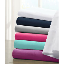 Queen Size Bed Sheet Set Flat Fitted Sheets Pillowcases Soft Microfiber Bedding