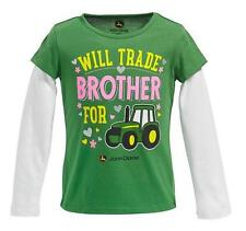 Girls JOHN DEERE Will Trade BROTHER for Tractor T-shirt Size 5 6X green NWT