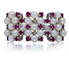White Freshwater Pearl and Ruby Solid Sterling Silver 925 Ring