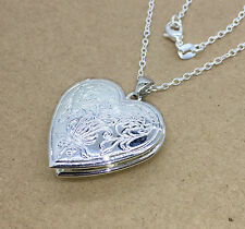 Fashion Women Silver Plated Filled Heart Locket Photo Charm Pendant Necklace Hot