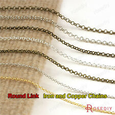2 or 5 meters 2MM 3MM 3.8MM Iron or Copper Round Link Necklace Chains 15900