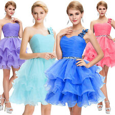 Organza Ball Cocktail Evening Prom Party Dress Formal Short One-Shoulder Wedding
