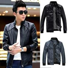 Trendy Mens Motorcycle Black Punk Bomber Blazer Faux PU Leather Jacket Outerwear