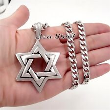 "MENs Large Star of David Stainless Steel Pendant Curb Chain Necklace 18""- 36"""