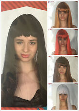 Adult Women Party Costume Long Straight Hair  Black Blonde white Red Wigs Dress