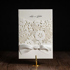Laser Cut out Pretty Floral Design Wedding Invitation Cards and Envelopes, Seals