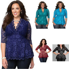 Womens Plus Size Sexy Lace Shirt Casual Hollow V-Neck Three Quarter Blouse Tops