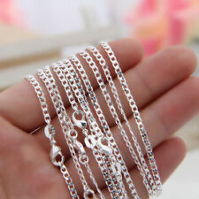"925 Sterling Silver Plated 2MM Curb Chains Necklace for Jewelry Pendant 16""-30"""
