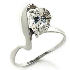 Silver Engagement Ring Pear Cut Cubic Zirconia Sterling 925 Size 7 8 9 10 USA
