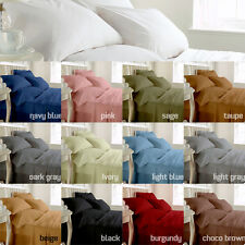 1000TC 100% Cotton Branded White/Dark-Gray Solid in All Bedding Size & Bed Sets
