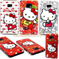 FOR SAMSUNG GALAXY S2 cute kitten kitty heart hot pink white for i9100 / i777