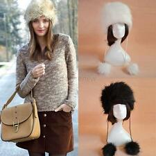 Ladies Faux Fur Womens Girl Ear Earflap Hat w/Balls Warm Winter Beret Cap