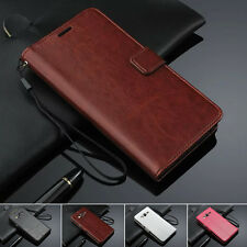 Luxury Flip Wallet Card Slots Wax PU Leather Cover Case For Samsung Galaxy Phone