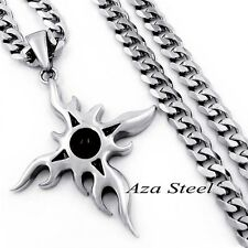 MEN Black Onyx Sun Star Stainless Steel Biker Pendant Curb Chain Necklace 18-36""