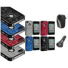 Brushed Metal Aluminum Robot Grid Hard Case Cover+2X Charger for iPhone 4 4G 4S