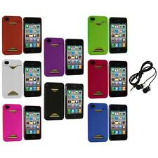 Credit Card ID Snap-On Rubberized Hard Case Cover+Headphones for iPhone 4S 4G 4
