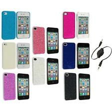 Bling Glitter Sparkly Ultra Thin Hard Back Cover+Aux Cable for iPhone 4 4G
