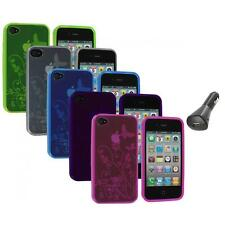 TPU Flower Butterfly Color Jelly Skin Case Cover+Car Charger for iPhone 4S 4G