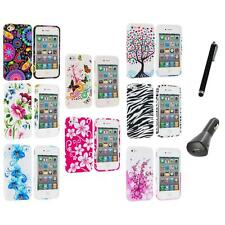Color Design TPU Rubber Skin Case Cover+Charger+Pen for iPhone 4 4S 4G Accessory