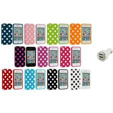 Polka Dot TPU Color Rubber Skin Case Cover+Dual Charger for Apple iPhone 4 4S 4G