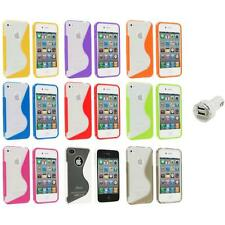 TPU Color Clear S-Shape S-Line Rubber Case Cover+Dual Charger for iPhone 4S 4G 4
