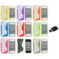 TPU Color Clear S-Shape S-Line Rubber Case Cover+Dock Stylus for iPhone 4S 4G 4