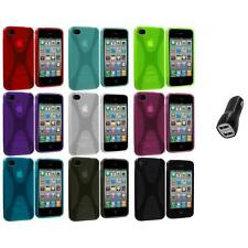 X-Line TPU Rubber Skin Case Cover+2.1A Charger for iPhone 4 4S 4G Accessory