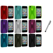X-Line TPU Rubber Skin Case Cover+Metal Pen for iPhone 4 4S 4G Accessory