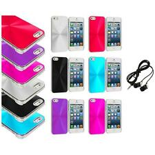 Chrome Aluminum Hard Luxury Case Cover Accessory+Headphones for iPhone 5 5S