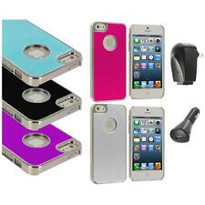 Aluminium Brushed Metal Color Hard Ultra Thin Case+2X Chargers For iPhone 5 5S