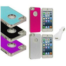 Aluminium Brushed Metal Color Hard Ultra Thin Case+White Charger For iPhone 5 5S