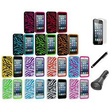 Zebra Hybrid 2-Piece Hard/Soft Case Cover+LCD+Charger+Pen for iPhone 5 5S 5th