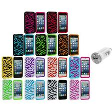 Zebra Hybrid 2-Piece Hard/Soft Case Skin Cover+USB Charger for iPhone 5 5S 5th