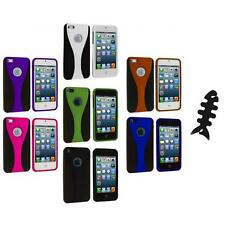 Color Black 3-Piece Rubberized Hard Snap-On Case+Cable Wrap for iPhone 5 5S